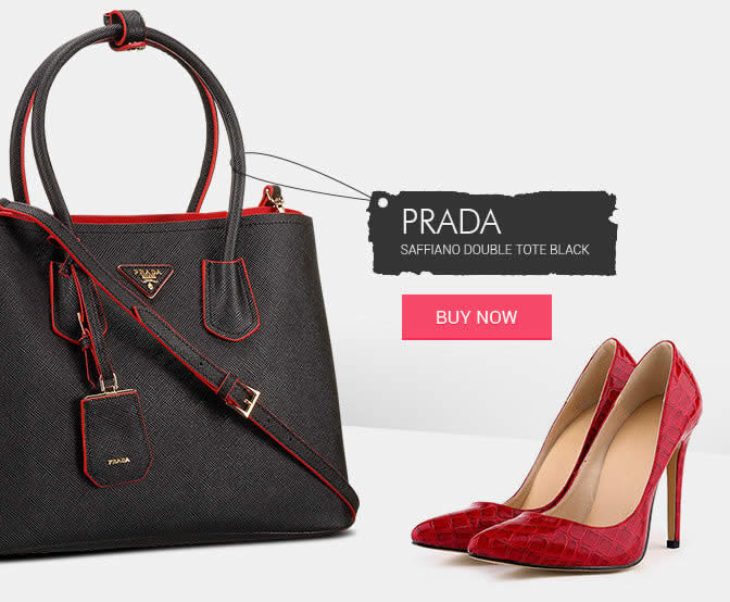 Replica Prada Shoes Black Double Tote